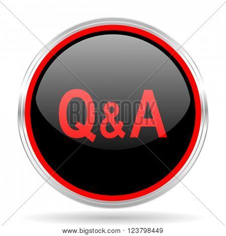 question answer black and red metallic modern web design glossy circle icon