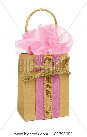 Hand Decorated Rustic Gift Bag With Pink Tissue Wrap And Twine Bow Isolated On White