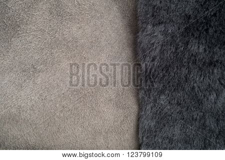 Grey Fur On Light Grey Shearling