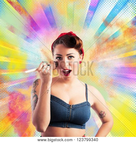 Pin-up woman make-up with colored powders background