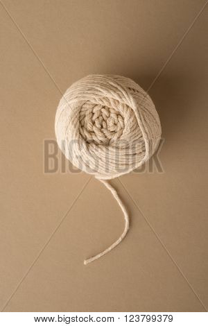 Overhead Shot Of Ball Of White Wool