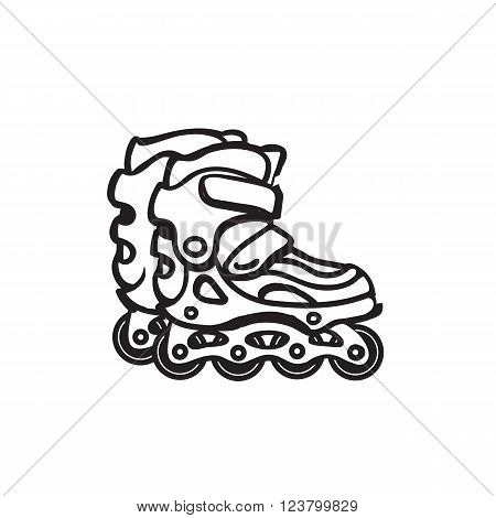 Image of roller skates. Black and white image of roller skates icon. Vector line style roller skates.