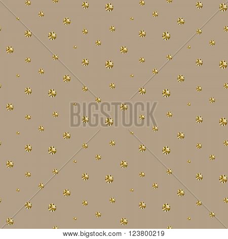 Gold foil glitter polkadot seamless beige pattern. Vector shimmer abstract circles texture. Sparkle shiny balls background.