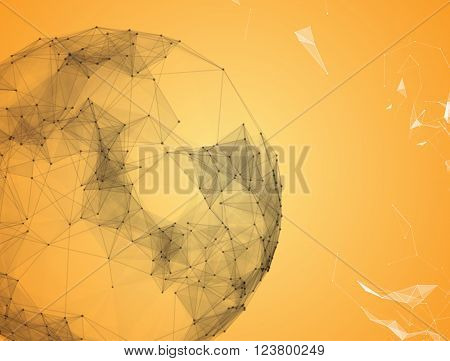 Virtual abstract background with particle, molecule structure. genetic and chemical compounds. creative vector. Space and constellations. Science and connection concept. Social network. Yellow and white banner