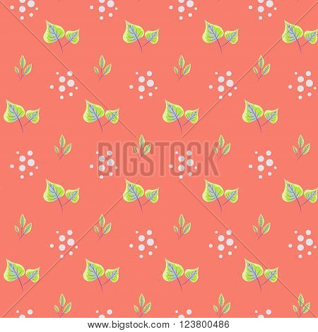 Spring green leaves seamless pattern. Floral tender fine summer vector pattern on coral background. For fabric textile prints and apparel.