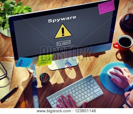 Spyware Computer Hacker Spam Malware Concept