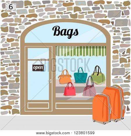 Bag shop's building facade of stone. Different woman bags in the shop window.Vector illustration eps 10.