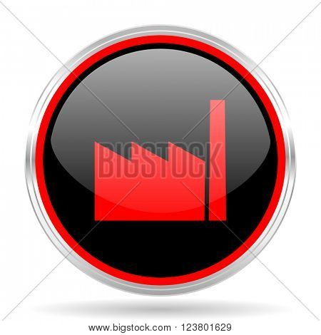 factory black and red metallic modern web design glossy circle icon