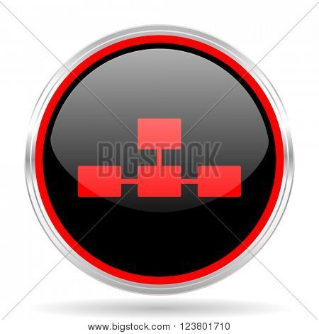 database black and red metallic modern web design glossy circle icon