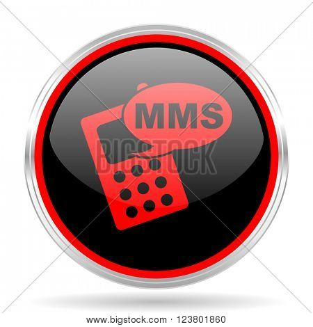 mms black and red metallic modern web design glossy circle icon