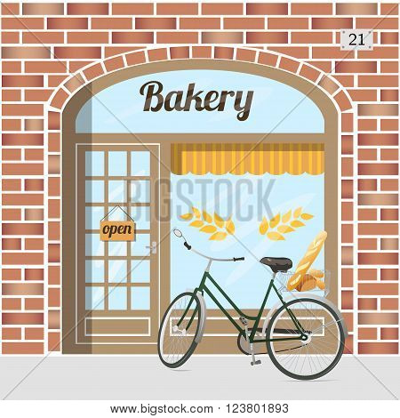 Bakery shop building facade of red brick . Bicycle with bread in basket. EPS 10 vector.