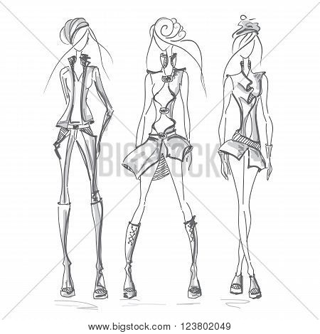Vecto fashion model set. Vector collection of clothing. Dress pencil sketch. Vector fashion outline.