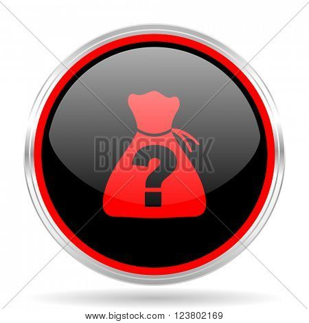 riddle black and red metallic modern web design glossy circle icon