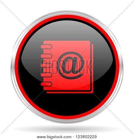 address book black and red metallic modern web design glossy circle icon