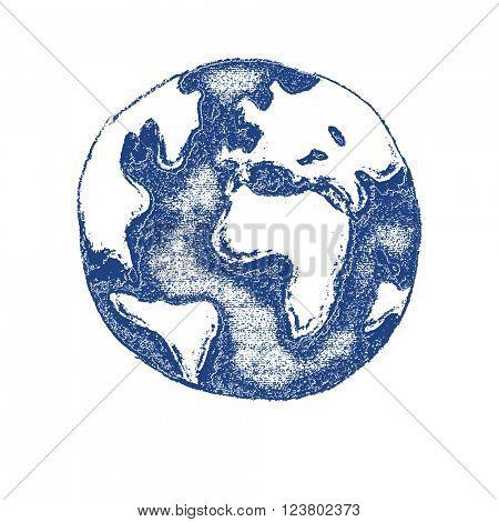 Earth. Globe hand drawn. Vector illustration