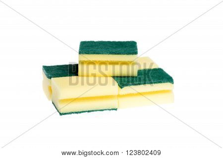 five dishwashing sponges on white background isolated