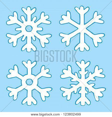 Cartoon four snowflakes on a blue background vector illustration