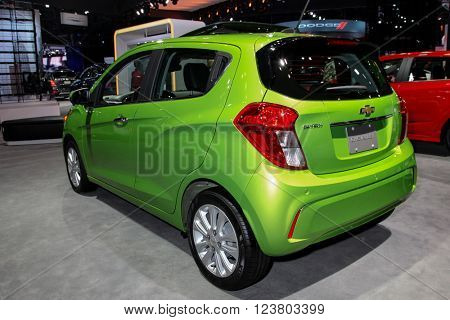 NEW YORK - MARCH 23: A Chevrolet Spark at the 2016 New York International Auto Show during Press day,  public show is running from March 25th through April 3, 2016 in New York, NY.