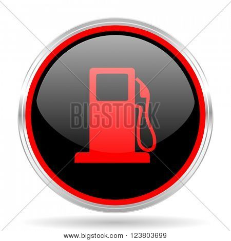 petrol black and red metallic modern web design glossy circle icon