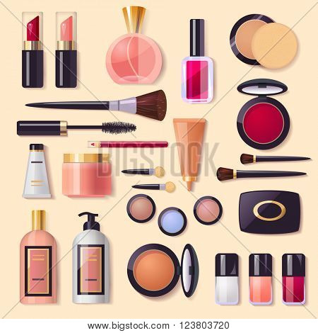 Set of decorative cosmetics, makeup, perfume and brushes, poster for beauty  & fashion store