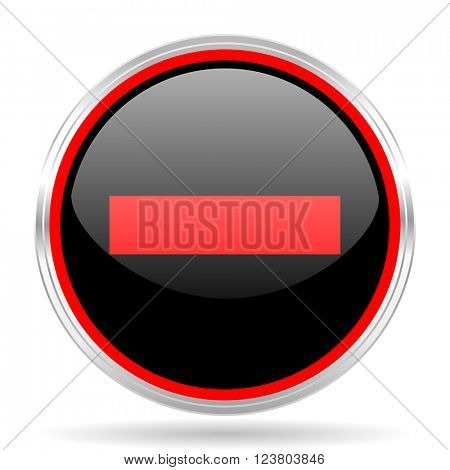 minus black and red metallic modern web design glossy circle icon