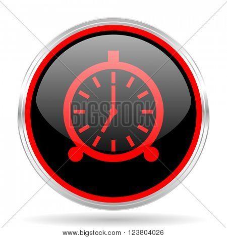 alarm black and red metallic modern web design glossy circle icon
