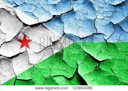 Grunge Djibouti flag with some cracks and vintage look