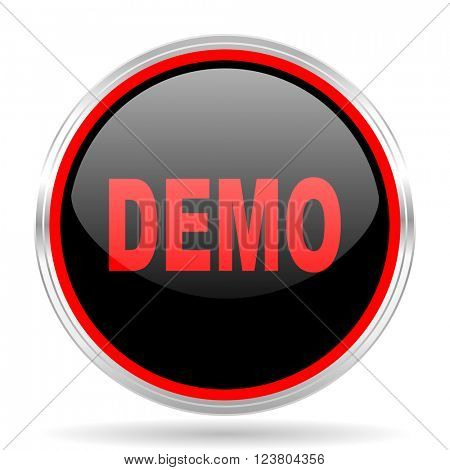demo black and red metallic modern web design glossy circle icon