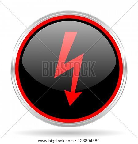 bolt black and red metallic modern web design glossy circle icon