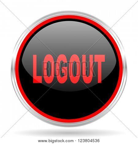 logout black and red metallic modern web design glossy circle icon