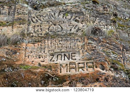 Sigulda, Latvia - March 17, 2012: Old  Inscriptions In The Gautmanis Cave Located On The Gauja River