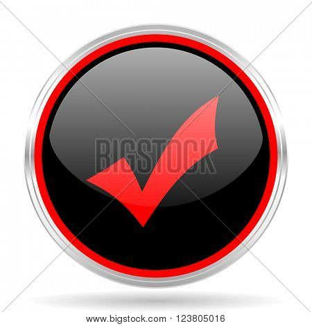 accept black and red metallic modern web design glossy circle icon