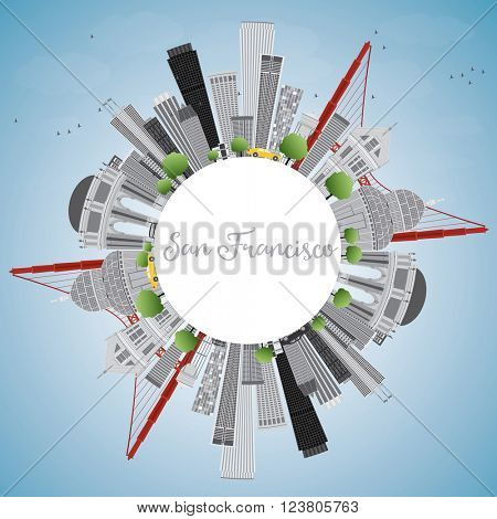 San Francisco Skyline with Gray Buildings and Blue Sky. Vector Illustration. Business Travel and Tourism Concept with Copy Space. Image for Presentation Banner Placard and Web Site.