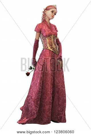 3d computer graphics of a cute fairytale princess with red rose in her hand