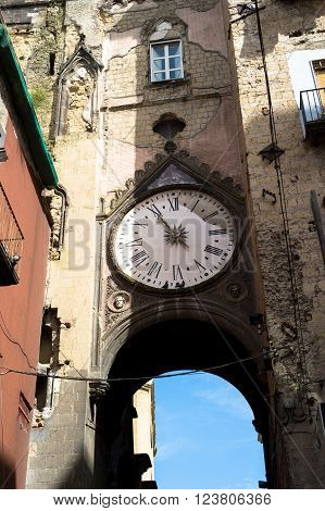 The church of st. Eligio, Naples with the stopped clock time of the bombing did during WWII