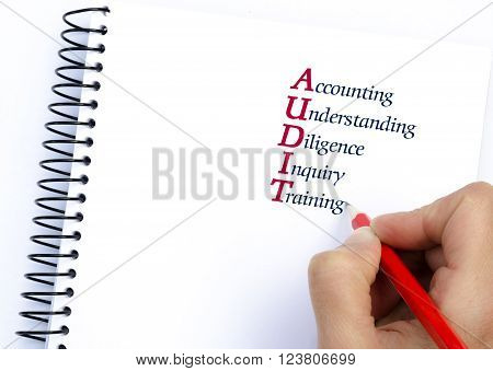 Acronym AUDIT as Accounting Understanding Diligence Inquiry Training. Hand writing with pencil isolated on white. Conceptual image
