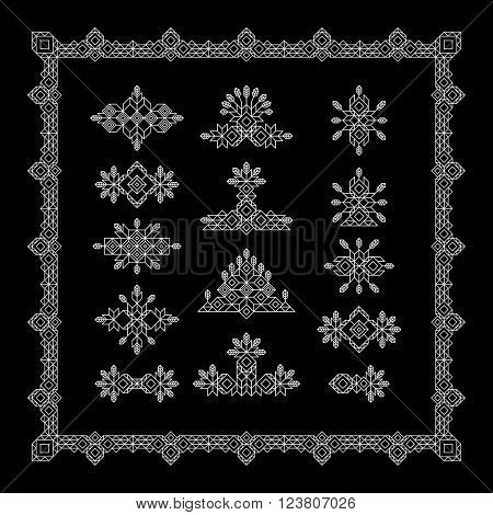 Set of Vintage Graphic Elements for Design. Line Art Design for Invitations, Posters. Linear Element. Geometric Style. Lineart Vector Illustration. Geometric Linear Border, Divider.
