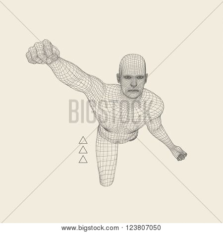 3D Model of Man. Polygonal Design. Geometric Design. Business, Science and Technology Vector Illustration. 3d Polygonal Covering Skin. Human Polygon Body. Human Body Wire Model.