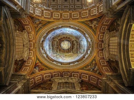 Vatican Italy - June 26 2014: Interior of the Saint Peter Cathedral in Vatican. Saint Peter's Basilica has the largest interior of any Christian church in the world.