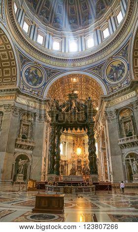 Vatican Italy - June 26 2014: Interior of Saint Peter's dome Vatican Town Basilica di San Pietro Rome Italy.