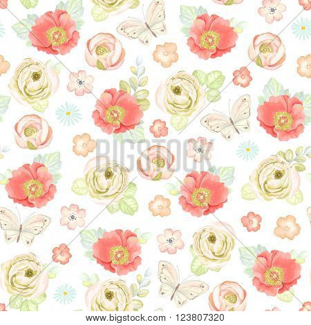 Seamless soft colorful pattern with ranunculus, rose hip, butterflies and leaves, vector floral illustration in vintage watercolor style.