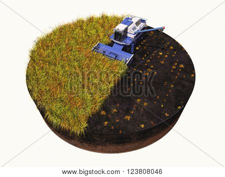 Machines for harvesting on a white background. 3D rendering