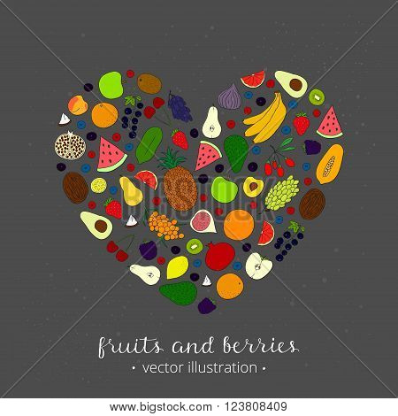 Hand drawn fruits in heart shape. Pineapple, kiwi, apple, grapefruit, banana, lemon, papaya, peach, lime, passion fruit, lychee, plum, apricot, watermelon, avocado, coconut.