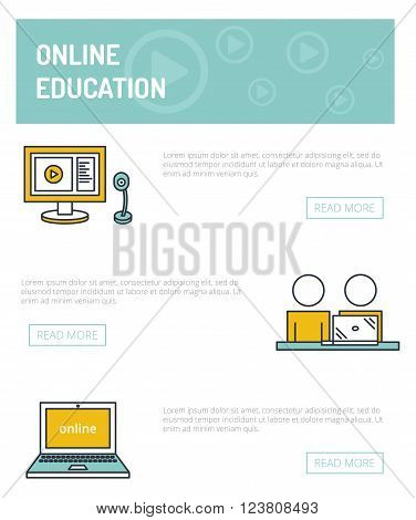 Online education concept template. Vector outline illustration of webinar, online conference, lectures and training in internet. The computer and webcam,  viewers, online translation.
