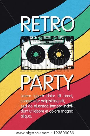 Retro music party poster design. Disco music vintage party invitation template.