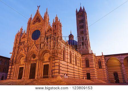 Siena Cathedral at sunrise. Siena Tuscany Italy