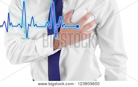 Man having chest pain - heart attack.