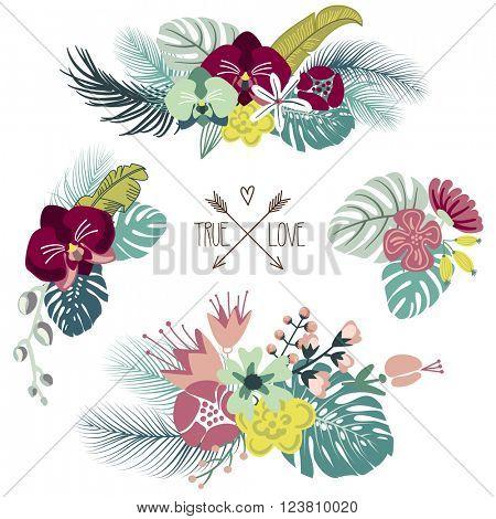Cute tropical floral bouquets, retro flowers
