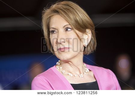 MADISON WI/USA - March 30 2016: Former Republican presidential candidate Carly Fiorina speaks to a group of supporters during a rally for presidential candidate Ted Cruz in Madison Wisconsin.