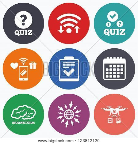 Wifi, mobile payments and drones icons. Quiz icons. Human brain think. Checklist with check mark symbol. Survey poll or questionnaire feedback form sign. Calendar symbol.